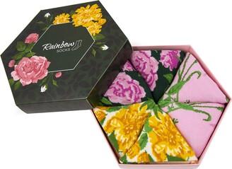 Rainbow Socks - Women Flower Socks Box Gift - 3 Pairs - White Roses Purple Roses Yellow Flowers - Size 7 5-11