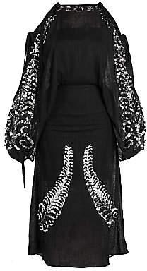 Prada Women's Sequin Embroidered Cold Shoulder Dress