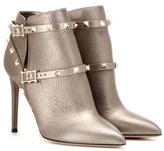 Valentino Rockstud Metallic Leather Ankle Boots