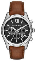 Michael Kors Lexington Stainless Steel Brown Leather Strap Chronograph