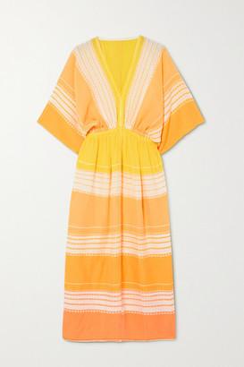 Lemlem Net Sustain Eshal Gathered Striped Cotton-gauze Midi Dress - Yellow