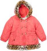 KC Collections Coral Butterfly Quilted Puffer Coat - Infant & Girls