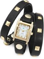 La Mer Women's LMLW1010A Black Gold Pyramid Stud Wrap Watch