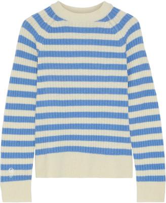 Ganni Striped Ribbed Merino Wool-blend Sweater