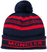 Moncler striped logo bobble hat