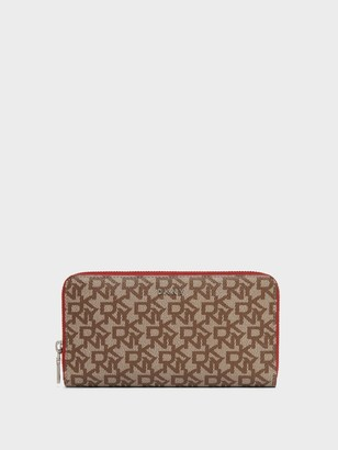 DKNY Large Zip Around Logo Wallet With Contrast Edges