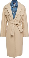 Sandro Victorie Layered Cotton-canvas And Denim Trench Coat