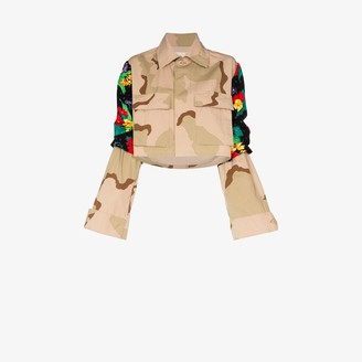 Rentrayage Floral Panel Camouflage Cropped Jacket