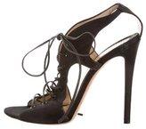 Blumarine Satin Lace-Up Sandals