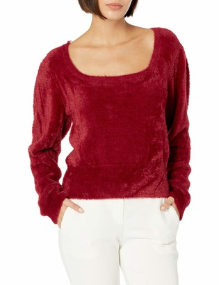 ASTR the Label Women's Long Sleeve Square Neck Fuzzy Sweater