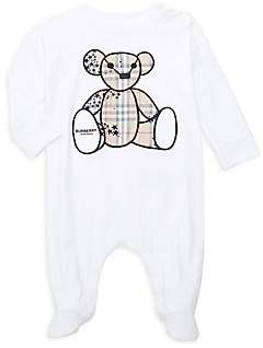 Burberry Baby's Bear Embroidered Footie