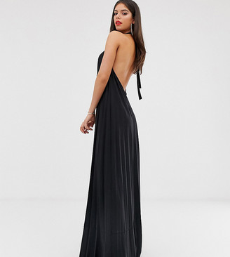Asos Tall DESIGN Tall backless halter pleated maxi dress-Black