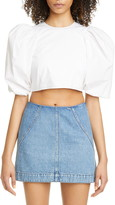 Philosophy di Lorenzo Serafini Puff Sleeve Crop Cotton Poplin Top