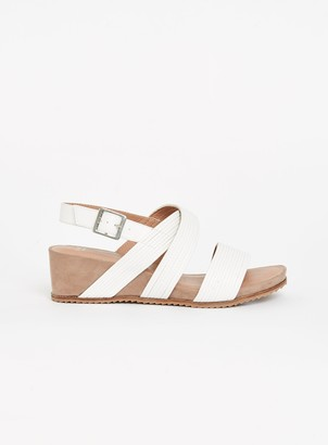Evans EXTRA WIDE FIT White Strappy Comfort Wedge Sandals