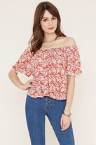 Forever 21 Abstract Floral Crepe Top