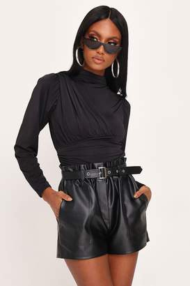 I SAW IT FIRST Black Slinky Wrap Ruched Side Blouse