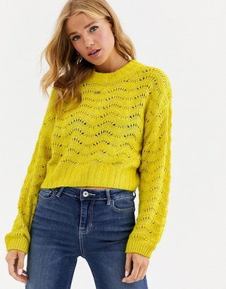 Cotton On Cotton:On Pointelle ladder knit sweater-Yellow