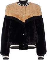 Free People Faux Fur Bomber Jacket With Mixed Fur Pannel