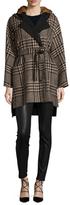 Max Mara Alcool Wool Hooded Coat with Fur Trim
