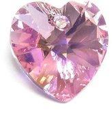 Dreambell 2 pcs Swarovski Crystal Xilion Heart Charm Pendant Light Rose Ab 14mm 6228 / Findings / Crystallized Element