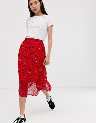 Selected leopard print plisse midi skirt