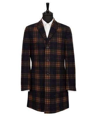 Ben Sherman Check Long Tailored Coat Colour: BLACK, Size: SMALL