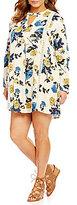 Blu Pepper Plus Keyhole Neck Long Sleeve Floral Print Shift Dress