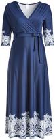 Glam Navy & White Surplice Maxi Dress - Plus