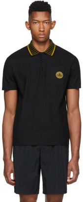 Versace Black Collar Applique Medusa Polo