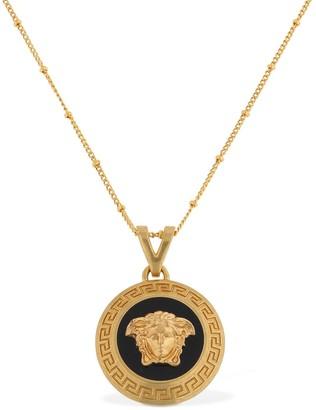 Versace Long Necklace W/ Enameled Medusa Icon