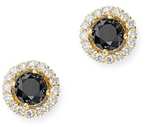 Bloomingdale's Black & White Diamond Halo Stud Earrings in 14K Yellow Gold - 100% Exclusive