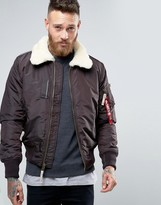 Alpha Industries Bomber Jacket With Sheep Fur Collar In Slim Fit Brown