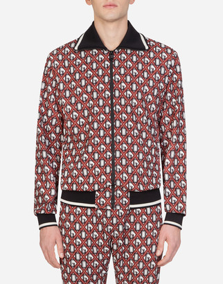 Dolce & Gabbana Zip-Up Hoodie In Crepe With Print