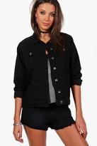 boohoo Tall Tayla Oversized Denim Boyfriend Jacket black