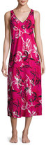 Oscar de la Renta Floral-Print Crepe de Chine Nightgown, Berry Print