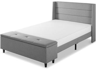 Mellow Peekaboo Full Modern Upholstered Platform Bed w/ Storage Ottoman, Gray