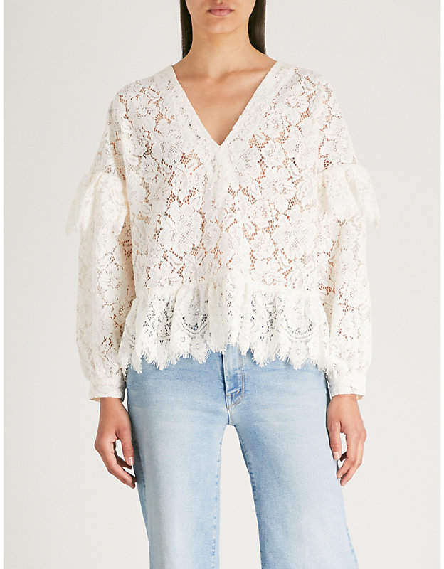 Ganni Jerome flared lace blouse