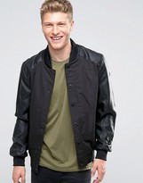 Brave Soul Faux Leather Bomber Jacket with Ribbed Collar