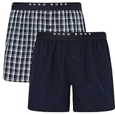 Hugo Boss Boss Check Woven Cotton Boxers, Pack Of 2, Navy