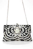 Moyna Black Woven Knit White Beaded Sequined Crossbody Shoulder Handbag