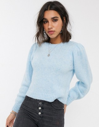 Only knitted jumper with puff sleeves in blue
