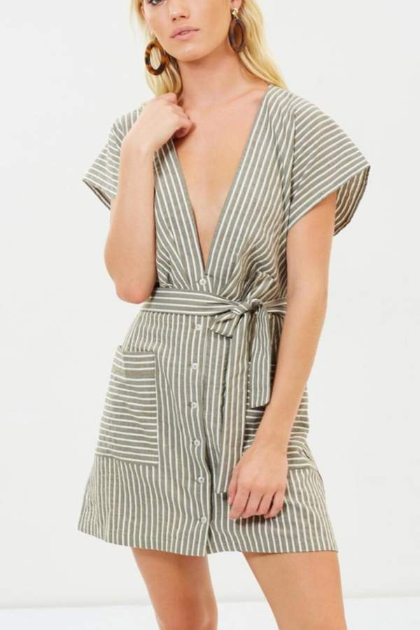 Bec & Bridge Khaki Striped Plunge Dress