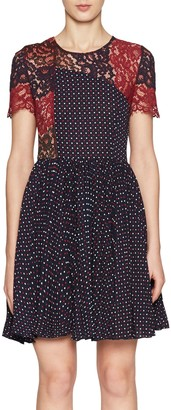 French Connection Phoebe Round Neck Dress, Navy/Multi