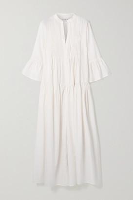 Evarae Katia Tiered Pintucked Cotton And Silk-blend Maxi Dress - White