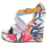 Pollini Floral Printed Wedge Sandals