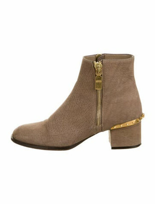 Alexander McQueen Suede Studded Accents Boots