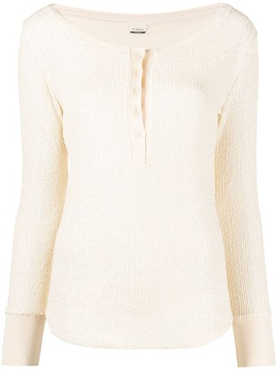 Pinko Ribbed Button-Front Top