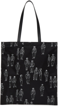Moschino Black Graphic Printed Tote Bag