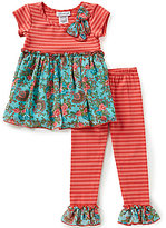 Bonnie Jean Little Girls 2T-6X Stripe Knit-to-Chiffon Dress and Pants Set