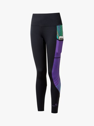 Ronhill Life Sculpt Running Leggings, Black/Royal Purple Beams